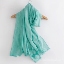 Women Fashion Plain Color Cotton Silk Scarf (YKY1148)