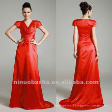 Elastic Woven Red A Line Chapel Train Pleated Scoop Short Sleeves Mother Dress Bridal Gown