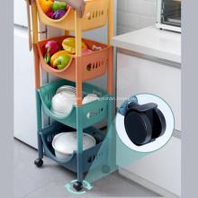 Cesta de rolamento do organizador de piso do carrinho de armazenamento de cozinha