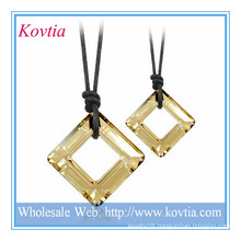 HOT fashion jewelry square crystal black leather cord couple necklace