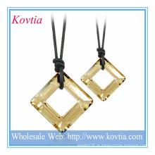 QUENTE moda jóias quadrados cristal preto colar de cordão casal colar