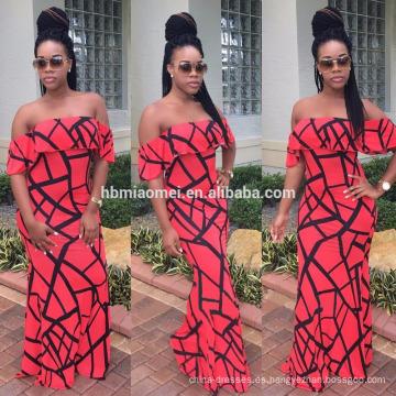 Impresión digital atractiva con estilo Fiery Sexy Vestido largo sin tirantes impresa floral atractivo para el vestido sin tirantes al por mayor