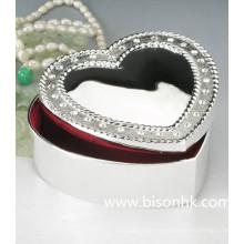 Boîte à bijoux en gros de mode en argent sterling, boîte à bijoux en métal coeur doux