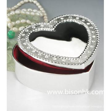 Caja de joyería al por mayor de la plata de la manera, caja de joyería del metal del corazón del dulce