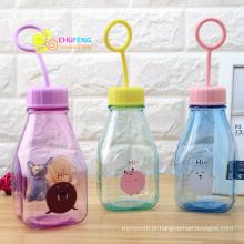 Cartoon transparente transparente de copo de plástico infantil garrafa de leite com hand-held
