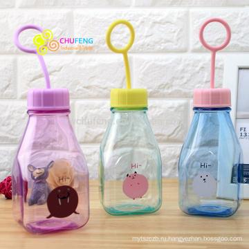 Мультфильм прозрачный молока бутылка Детская пластиковая чашка с ручной