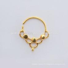 Vente en gros de bijoux à anneaux en or 925 en argent sterling, plaqué or Septum Piercing Body Jewelry Suppliers