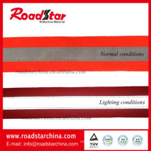 Fluorescent color reflective ribbon for garment