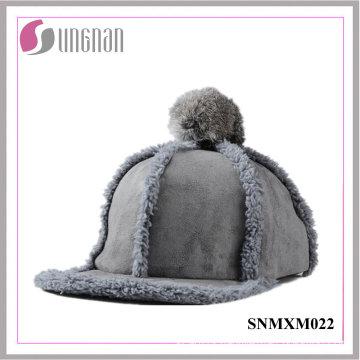 2015 Sweet Girls Hiphop Hat Plush Fur Ball Flat-Brimmed Cap (SNMXM022)