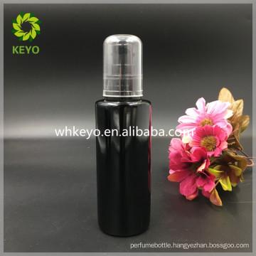 100ml black glass bottle cosmetic packing pump bottle