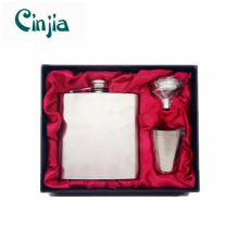6oz Stainless Steel Hip Flask Set with a Customized Logo