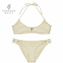 Elegante nuevo diseño frente xxx sexy foto caliente de la parte superior trenzada halter con dorado abalorios dama bralette sujetador panti