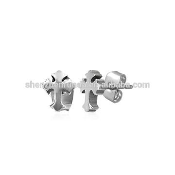 Männer Kreuz-Entwurfs-Edelstahl-Bolzen-Ohrringe 7mm Art und Weiseschmucksachen