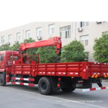 China Flatbed Truck with Crane 8 Ton 10 Ton  Truck Mounted Crane Hiab Palfinger Telescopic Boom