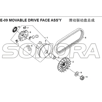 E-09 MOVIVE DRIVE FACE ASSY per XS125T-16A Fiddle III Ricambio di alta qualità