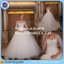 Gorgeous long trian crystal beaded lace overlay bridal wedding dress 2014