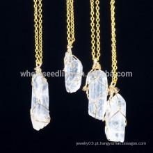 Moda irregular forma de pedra natural banhado a ouro jóias finas pingente colar de corrente