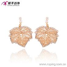 2016 recientemente moda especial hoja natural joyas de oro de la oreja con circonita 90645