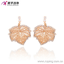 2016 Recently Fashion Special Natural Leaf Gold Jewelry Eardrops with Zircon 90645