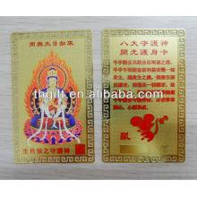 Tarjeta de metal Buda con chapado en oro