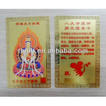 Metal Buddha card with gold plated