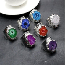 Wholesale Natural Stone Agates Sunflower Crystal Geode Sun Agate Ring Plating Silver Irregular Ring