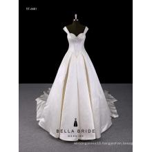 White straps beading bra wedding dress with ball gown hemline