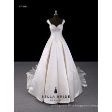 Tiras brancas com vestido de noiva de sutiã com bainha de vestido de baile