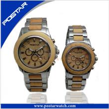 Nouvelle montre suisse en bois de couple naturel d'arrivée qui respecte l'environnement