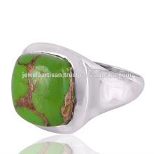 Натуральный Зеленый Меди Бирюзовый Драгоценных Камней 925 Твердые Серебряное Кольцо