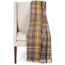 Manta de lana tejida de tartán con flecos