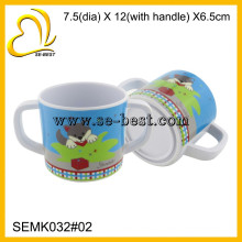 adorável melamina crianças copo com alça dupla, caneca de melamina para beber