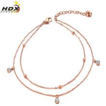 Модный ювелирный браслет, ювелирные изделия из нержавеющей стали Gold Diamond Anklet (hdx1138)