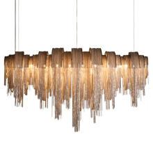 Decorative Modern Large Luxury Gold Tassel Aluminum Chain Lighting Chandelier For Hotel