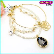 Hot Sell Custom Wholesale Cheap Alloy Crystal Charm Gold Bracelet