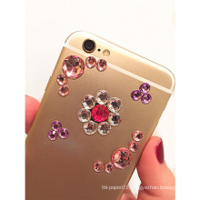 MOQ 500 Custom Adhesive Rhinestone Crystal Sticker,Mobile Phone Decoration Sticker