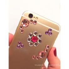 Etiqueta de cristal do cristal de rocha adesivo feito sob encomenda de MOQ 500, etiqueta da decoração do telefone móvel