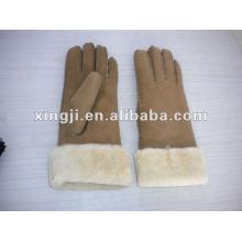 естественный цвет подгонянная конструкция реального ягненка меховой перчатки для женщин