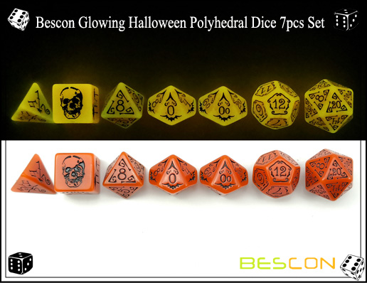Bescon Glowing Halloween Polyhedral Dice 7pcs Set-3