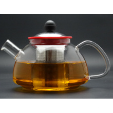900ml Singlge Wall Hand Made Borosilicage Glass Teapot with Steel Lid and Infuser