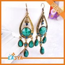 Fashion Antique Bronze Crystal Teardrop Earrings