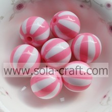 2014 20MM Attractive Fashion Pink Watermelon Striped Alibaba Loose Spacer Charm Resin Beads With Hole Drilled In Center CZ