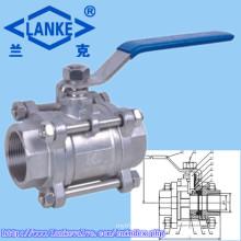 Válvula de Esfera de Rosca Fêmea de Aço Inoxidável 3PC com Fechadura