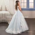 2017 Schöne Weiße Und Hellblaue Kleid Tüll Spitze Tiered Kleine Prinzessin Blumenmädchen Kleid Muster Kostenlos