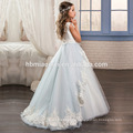 2017 bonito branco e luz azul vestido de tule de renda em camadas pequena princesa flor menina dress padrões livre
