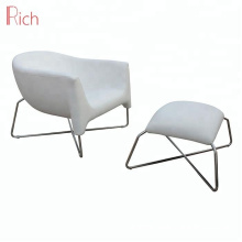 Nordic Leisure Style living room furniture Fiberglass Chair White Lounge Footstool