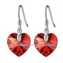 Fashion Red austrian Boucles d'oreille en cristal Boucles d'oreille en forme de coeur pour les femmes 2014 SE-001E