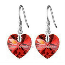 Fashion Red austrian Crystal earring Heart Shaped Earrings For Women fashion 2014 SE-001E