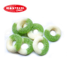 Кольцо с зеленым яблоком кислая халяльная мармеладная кисло-сладкая конфета