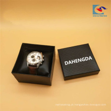 Caixa de presente da embalagem do relógio do papel do cartão do preto do logotipo feito sob encomenda da amostra grátis